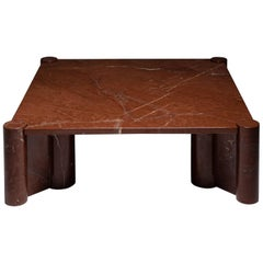 Gae Aulenti 'Jumbo' Coffee Table in Rare Rosso Collemandina Marble