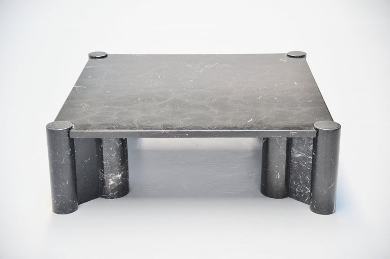 Stunning and early edition 'Jumbo' coffee table designed by Gae Aulenti and manufactured by Knoll International, Italy, 1965. This example was made in stunning black marquina marble with white veins. The table is in very good original condition