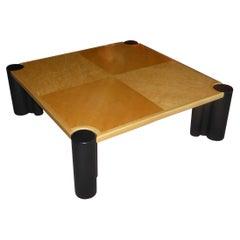 Gae Aulenti Jumbo Style Coffee Table in Blond Birdseye Maple and Ebonized Woods
