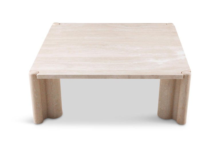 Gae Aulenti Jumbo Travertine Square Coffee Table 4