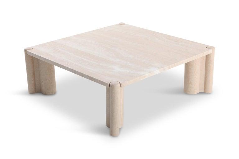 Gae Aulenti Jumbo Travertine Square Coffee Table 5