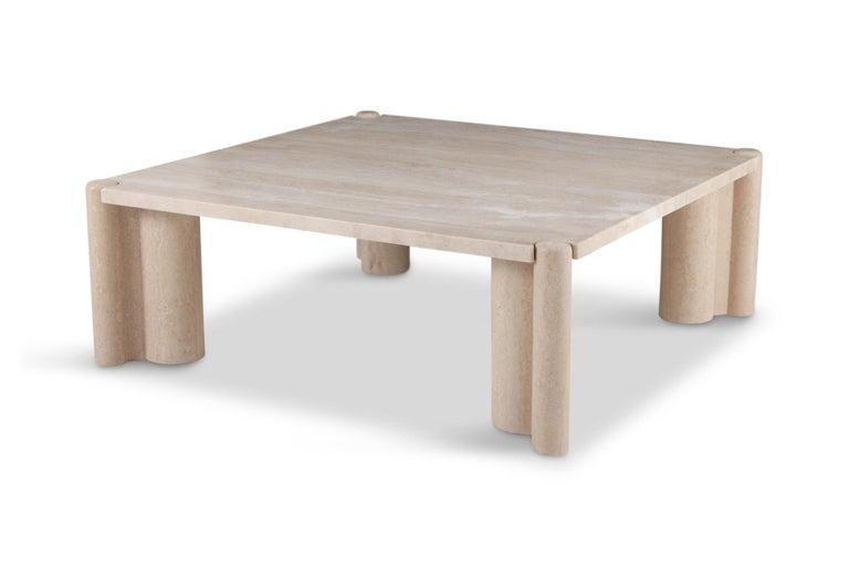 Italian Gae Aulenti Jumbo Travertine Square Coffee Table