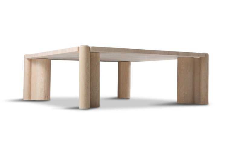 Gae Aulenti Jumbo Travertine Square Coffee Table In Good Condition In Antwerp, BE