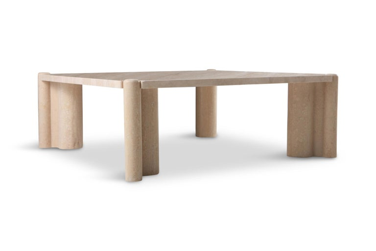 Mid-20th Century Gae Aulenti Jumbo Travertine Square Coffee Table