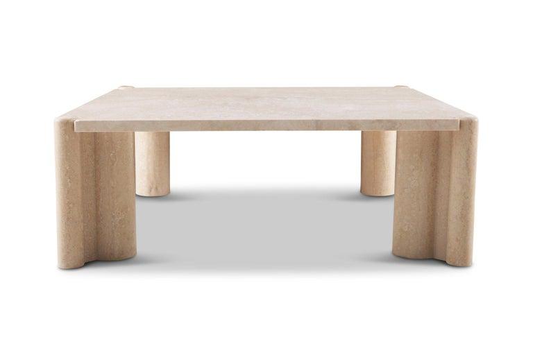 Gae Aulenti Jumbo Travertine Square Coffee Table 1