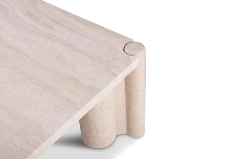 Gae Aulenti Jumbo Travertine Square Coffee Table 2