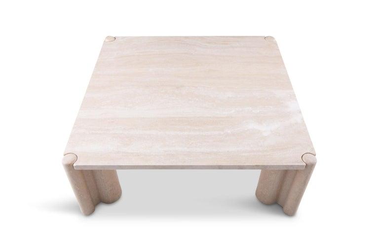 Gae Aulenti Jumbo Travertine Square Coffee Table 3