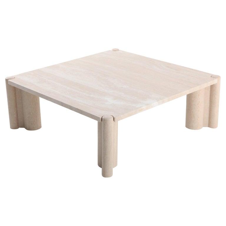 Gae Aulenti jumbo square travertine coffee table, 1965, offered by Goldwood Interiors
