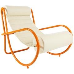 Gae Aulenti Locus Solus Lounge Chair in Orange Colored Metal and Leather