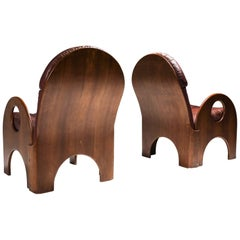 "Gae Aulenti Pair of ""Arcata"" Easy Chairs in Walnut and Burgundy Leather"