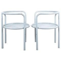 Gae Aulenti Pair of Metal Grey Chairs '1' Locus Solos Midcentury
