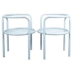 Gae Aulenti Pair of Metal Grey Chairs '2' Locus Solos Midcentury