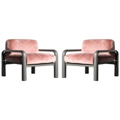 Gae Aulenti Pink Velvet and Grey Steel Lounge Chairs for Knoll International