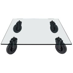 Gae Aulenti Square Coffee Table with Wheels for Fontana Arte, 1980