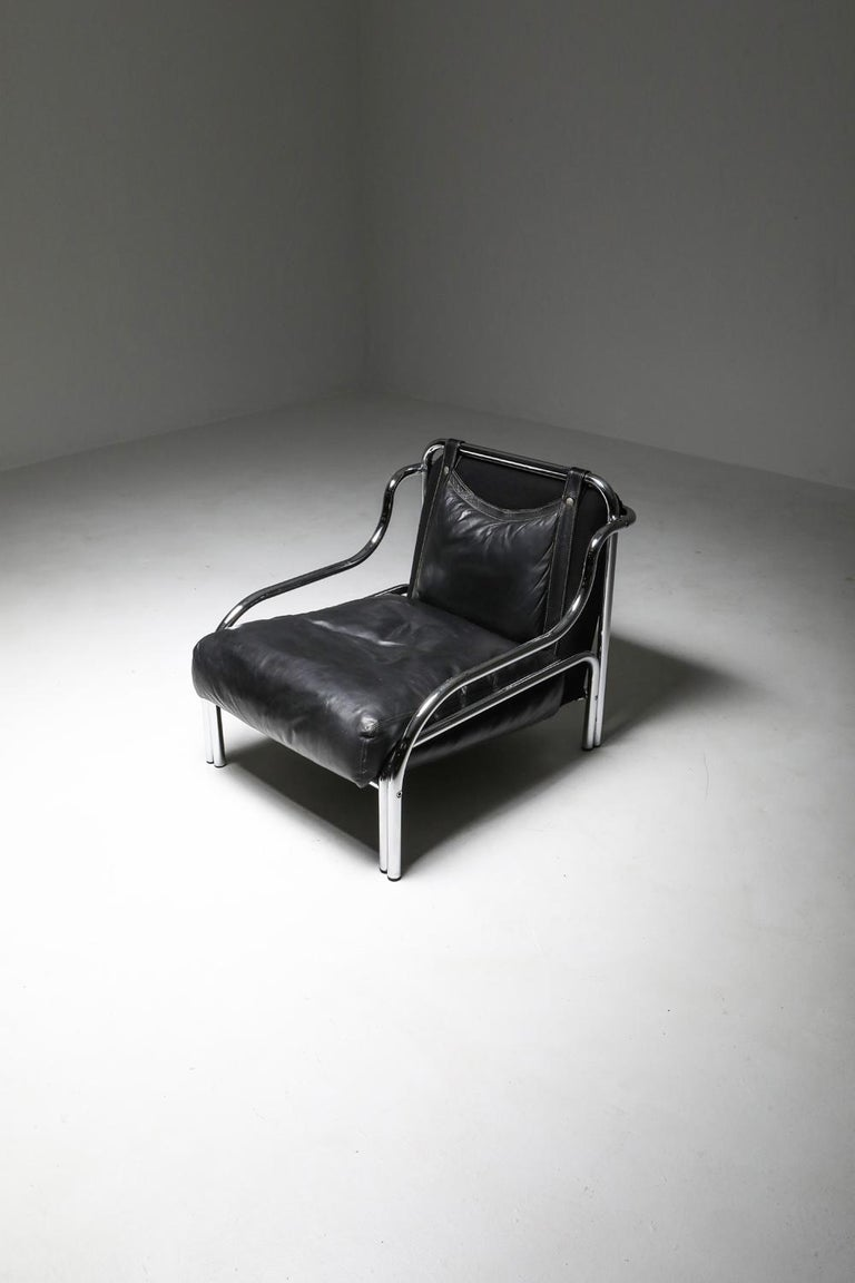Gae Aulenti 'Stringa' Armchair Black For Sale 4