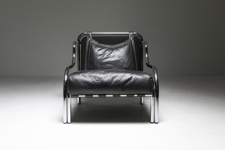 Mid-Century Modern Gae Aulenti 'Stringa' Armchair Black For Sale
