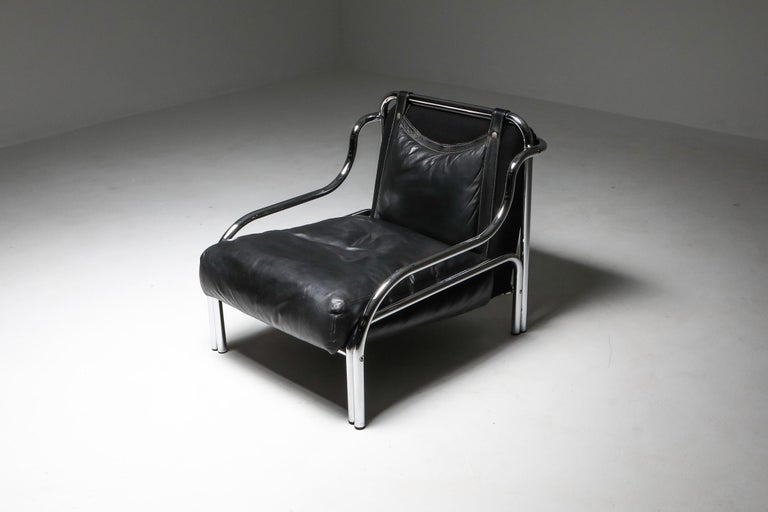 Gae Aulenti 'Stringa' Armchair Black In Good Condition For Sale In Antwerp, BE