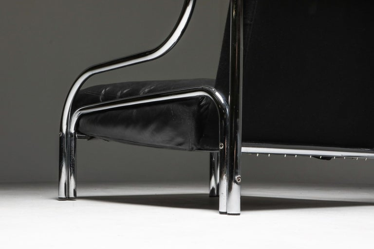 Leather Gae Aulenti 'Stringa' Armchair Black For Sale