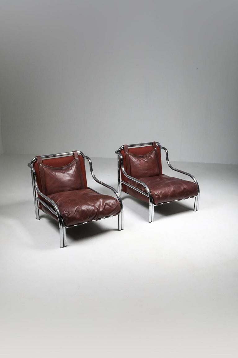 Gae Aulenti 'Stringa' Pair of Armchairs  For Sale 6