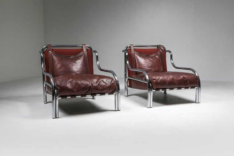 Mid-Century Modern Gae Aulenti 'Stringa' Pair of Armchairs  For Sale