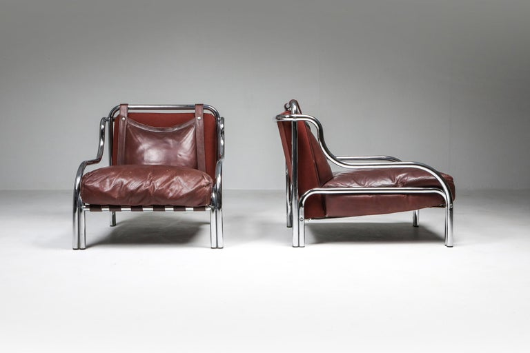 Italian Gae Aulenti 'Stringa' Pair of Armchairs  For Sale