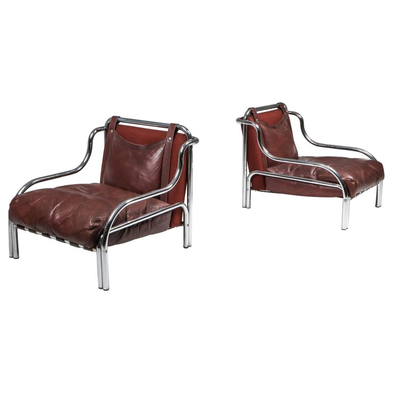 Gae Aulenti 'Stringa' Pair of Armchairs  For Sale
