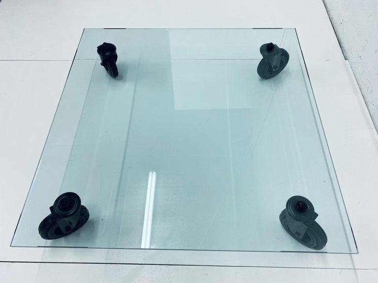 Gae Aulenti Tavolo Con Ruote Low Glass Coffee Table on Casters for Fontana Arte In Good Condition For Sale In Miami, FL