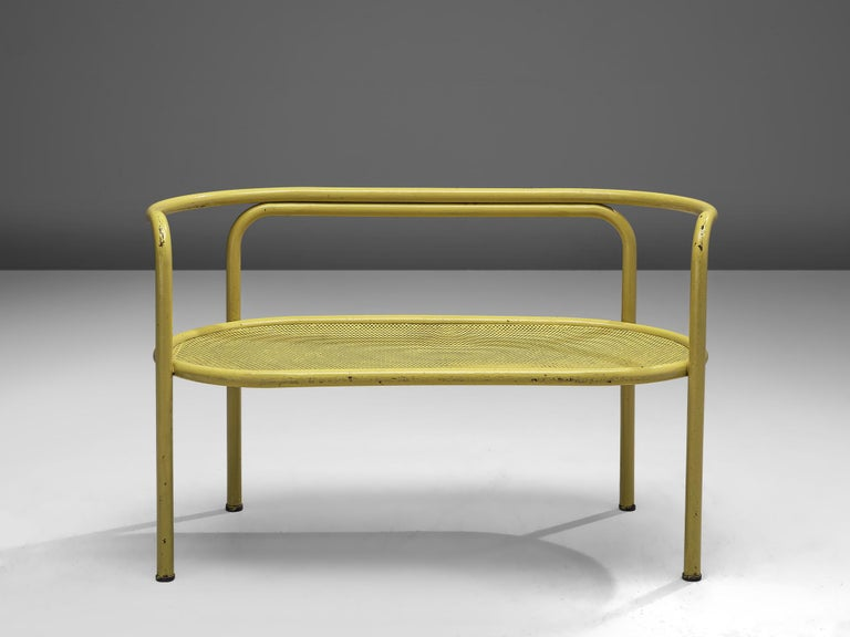 Gae Aulenti for Poltronova, 'Locus Solus' sofa, lacquered tubular steel, fabric, Italy, 1964  Do you also love the movie La Piscine? You can bring its famous poolside furniture to your own garden. This bench is designed by Gae Aulenti and produced