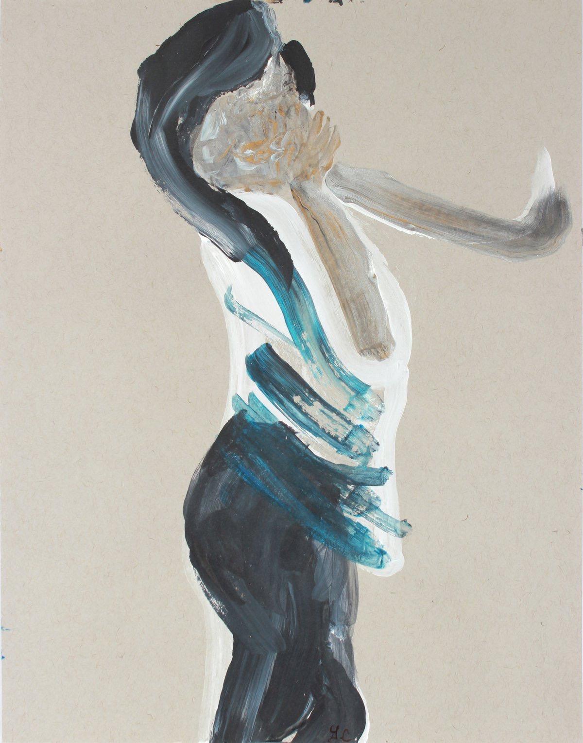 """Blue Stripes I"" 2018-2019 Figurative Gouache on Paper"