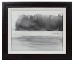 """""""Summer Fog"""" Abstracted Monochromatic New Hampshire Landscape in Ink, 2017"""