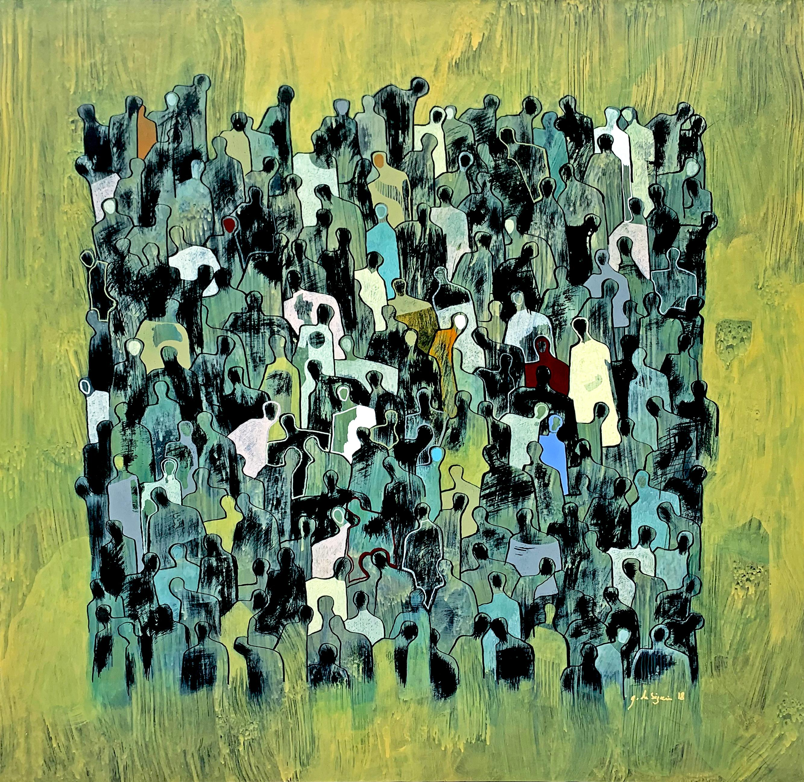 Golden Bond by Gaetan de Seguin -Contemporary Abstract Figurative painting