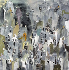 In the City by Gaetan de Seguin - contemporary abstract & figurative painting