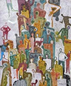 La Rencontre by Gaetan de Seguin - Contemporary Abstract Figurative painting