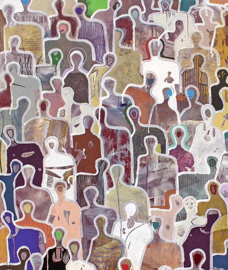 Stronger Together by Gaetan de Seguin - Contemporary Abstract painting - Brown Figurative Painting by Gaëtan de Seguin