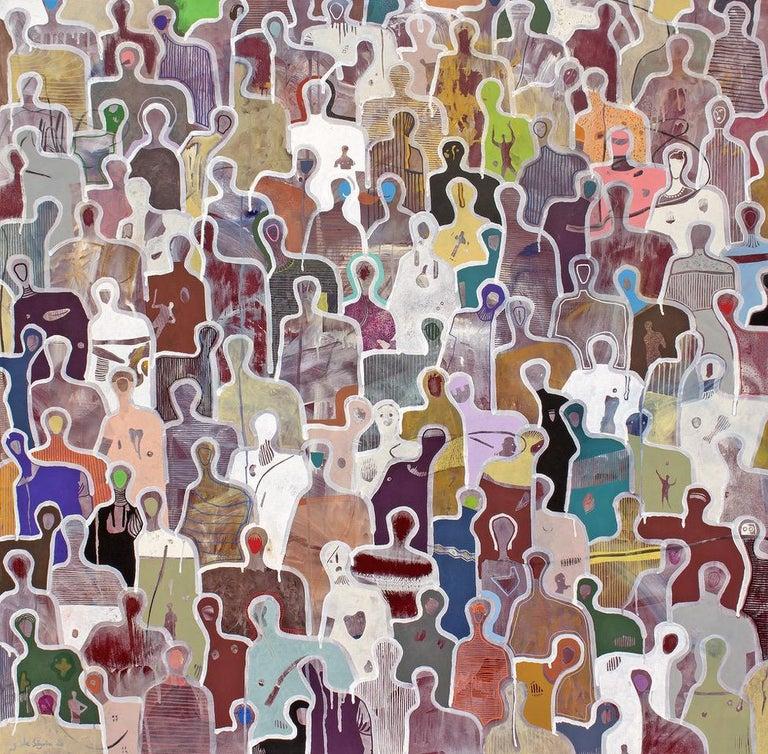 Gaëtan de Seguin Figurative Painting - Stronger Together by Gaetan de Seguin - Contemporary Abstract painting