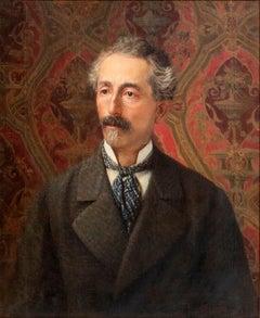 Portrait of a Man - Original Oil on Canvas by G. Bocchetti - Mid 20th Century