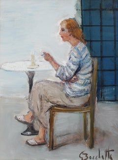 'Woman Alone with Her Thoughts' by Gaetano Bocchetti, Oil Portrait, Italy