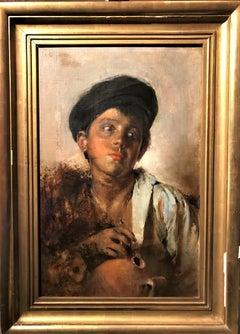 Portrait of a Neapolitan Boy, signed oil on canvas