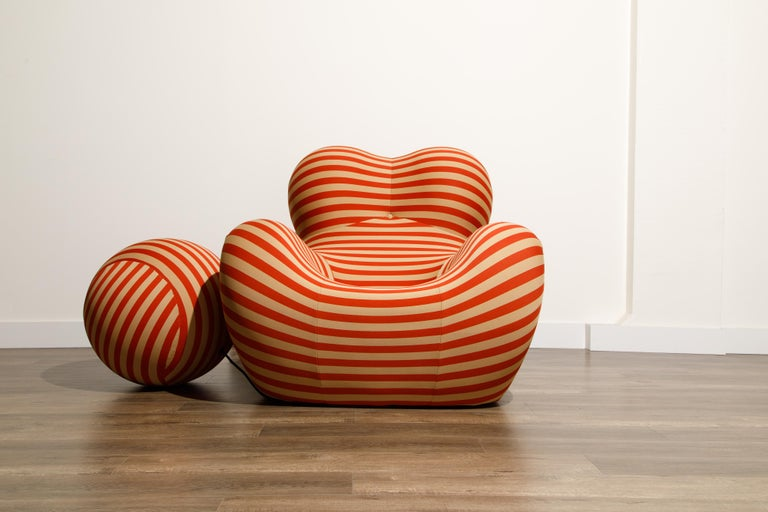 Originally designed in 1969 for a few years before it was discontinued in 1973, the UP5 & 6 lounge chair and ottoman by Gaetano Pesce, also known as the Big Mama, Blow Up and Donna chair, was reissued in 2000 by B&B Italia. The red and white striped