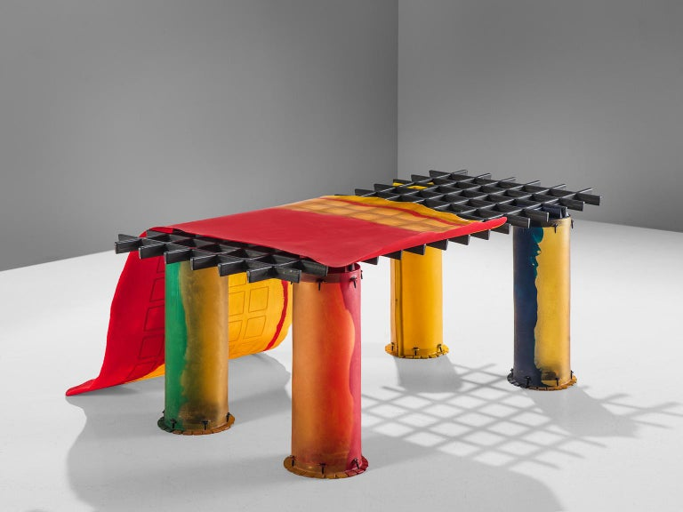 Gaetano Pesce for Zerodesigno, 'Nobody's Perfect' dining table, red, blue, green and yellow resin, metal, Italy, 2002.