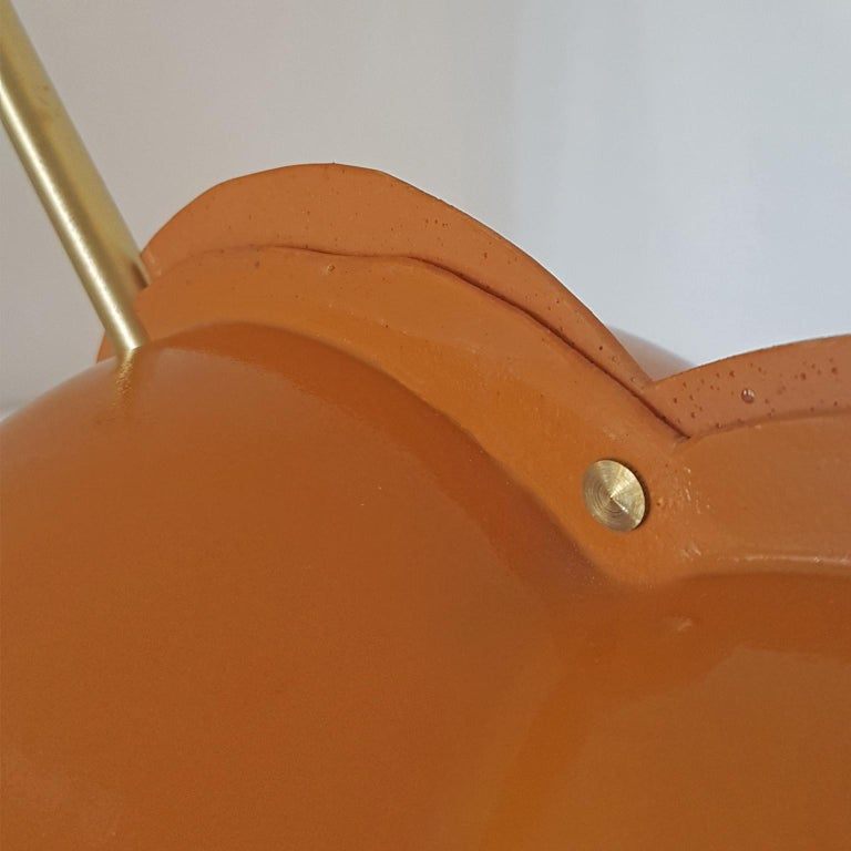 Gaetano Pesce Italian Table Lamp, Yellow Ocher Lampshade and White Stone Base For Sale 13