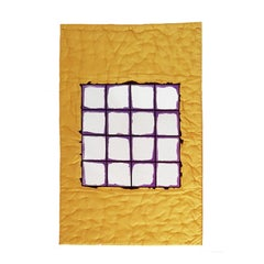 Gaetano Pesce Italian Wall Mirror with Yellow Silk Fabric Frame and Violet Resin