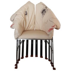 Gaetano Pesce White Fabric Armchair with Structure and Leg in Black Carbon Fiber