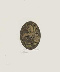 Lion - Original Etching by Gaetano Pompa - 20th Century
