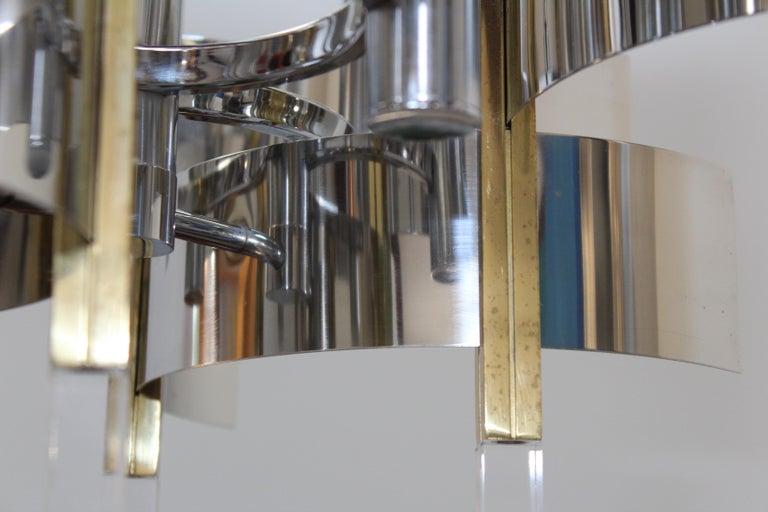 Gaetano Sciolari Brass and Chrome Chandelier For Sale 4