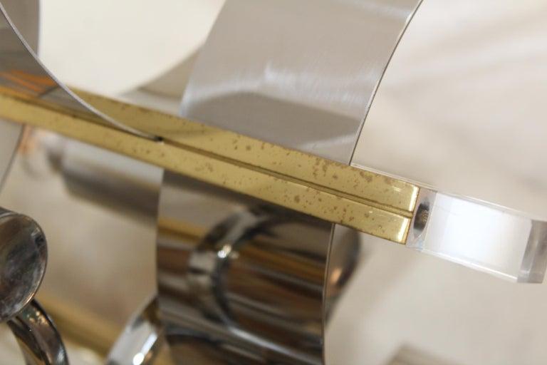 Gaetano Sciolari Brass and Chrome Chandelier For Sale 5