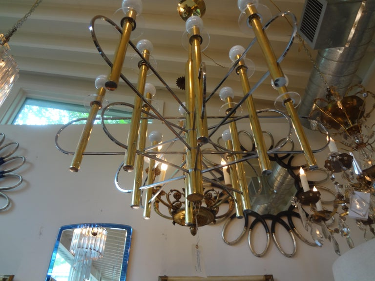 Mid-Century Modern Italian Gaetano Sciolari Brass and Chrome Chandelier For Sale