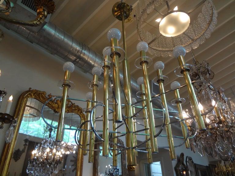 Italian Gaetano Sciolari Brass and Chrome Chandelier In Good Condition For Sale In Houston, TX