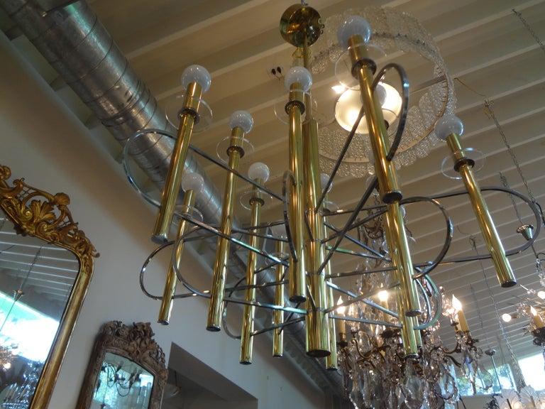 Mid-20th Century Italian Gaetano Sciolari Brass and Chrome Chandelier For Sale