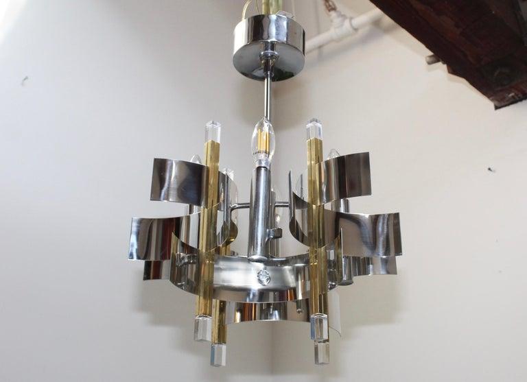 Gaetano Sciolari Brass and Chrome Chandelier For Sale 1